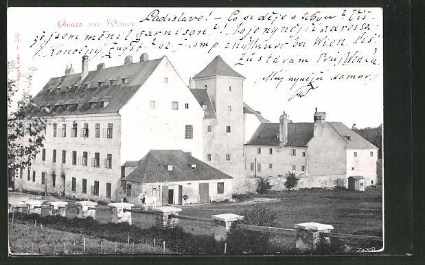 AK Wien-Mauer, Ortspartie mit zwei Männern und einem Pferd