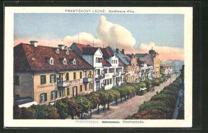 AK Franzensbad, Partie an der Goethestrasse aus der Vogelschau