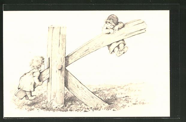 Künstler-AK Hermann Kaulbach: Kinder mit Buchstabe K als Wippe