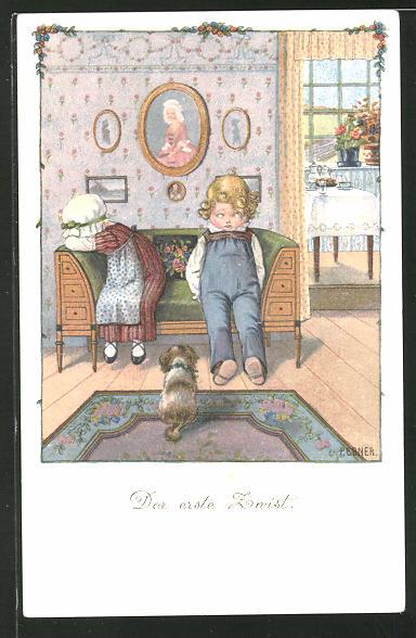Künstler-AK Pauli Ebner: Der erste Zwist, Junge sitzt neben einem weinenden Mädchen