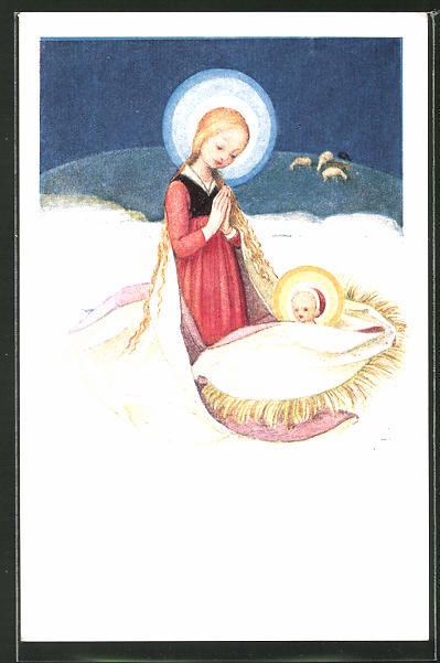 Künstler-AK Josef Bachlechner: Stille Nacht, Maria mit dem Kinde