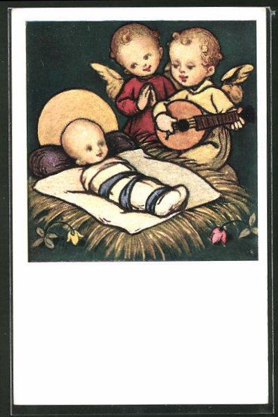 Künstler-AK Josef Bachlechner: Wiegenlied der Engel, Engel besingen das Christkind