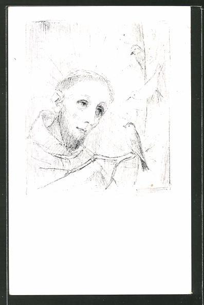 Künstler-AK Josef Bachlechner: Franziskus predigt den Vögeln