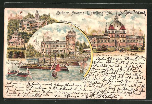 Lithographie Berlin Gewerbe Ausstellung 1896 Marine