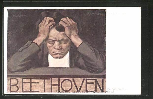 Künstler-AK Albin Egger-Lienz: Beethoven, Portrait des Komponisten