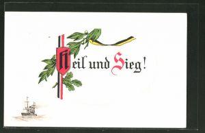 AK Heil und Sieg!, deutsche und österr. Fahne