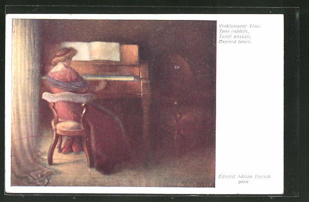 Künstler-AK Eduard Adrian Dussek: Verklungene Töne, Klavierspielerin