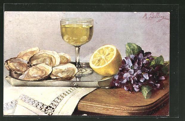 Künstler-AK M. Billing: Stilleben mit Austern