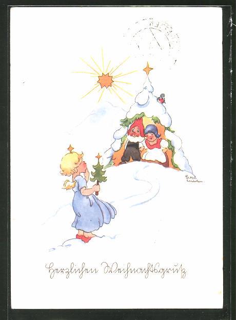 Künstler-AK Liesel Lauterborn: Weihnachtsengelchen vor dem Haus eines Zwerges