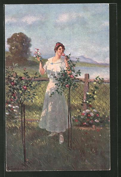 Künstler-AK Ernst Schlemo: Frau erfreut sich an ihren Rosen