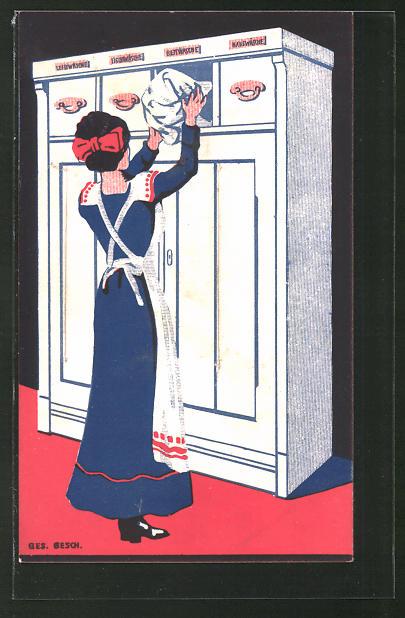 Künstler-AK Dienstmädchen räumt die Wäsche ein, Art Deco