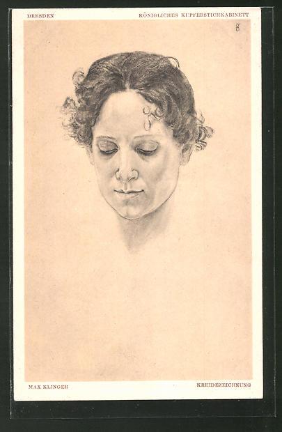 Künstler-AK Max Klinger: Portrait einer Frau mit geschlossenen Augen