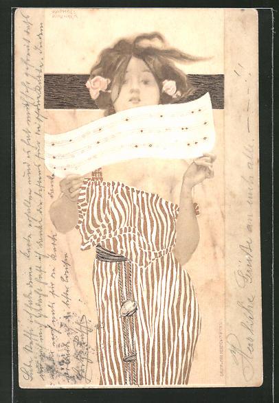 Künstler-AK Raphael Kirchner: Schöne Frau mit Rosen im Haar liest eine Partitur