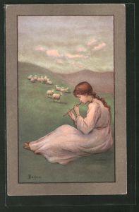 Künstler-AK S. Barham: Hirtenmädchen mit Flöte