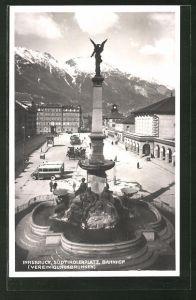 AK Innsbruck, Südtirolerplatz mit Bahnhof und Vereinigungsbrunnen