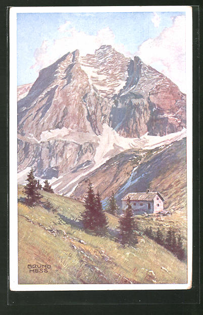 Künstler-AK Bruno Hess: Premtalerhütte mit dem Waldhorn-Nordgipfel