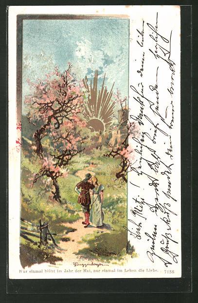Künstler-AK Theodor Guggenberger: Sonnenaufgang zur Baumblüte im Mai