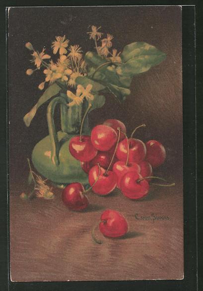 Künstler-AK Clara von Sivers: Stillleben mit Kirschen und Blumen