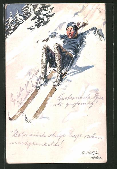 Künstler-AK O. Merte: Skifahrer rutscht auf dem Hosenboden den Hang hinab