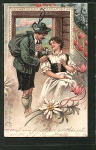 Künstler-Lithographie Arthur Thiele: Mann überreicht Maid Edelweiss