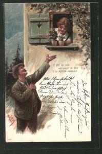Künstler-Lithographie Arthur Thiele: O hätt ich Dich..., Liebespaar