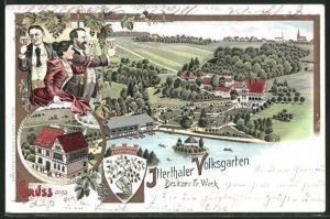 Lithographie Solingen, Männer und Frau im Gasthaus Itterthaler Volksgarten, Bes. Fr. Weck, Totalansicht
