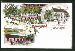 Lithographie Stiepel, Kutsche am Gasthaus Königshof, Fabrik landwirtschaftlicher Maschinen, Hochbassin
