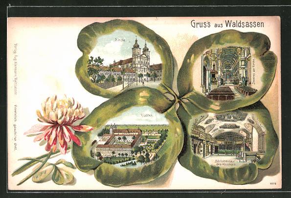 Präge-Lithographie Waldsassen, Kirche, Kloster, Inneres der Kirche und Bibliotheksaal des Kloster im Kleeblatt