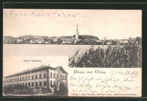 AK Obing, Blick auf Ober's Gasthof, Blick über den See auf den Ort