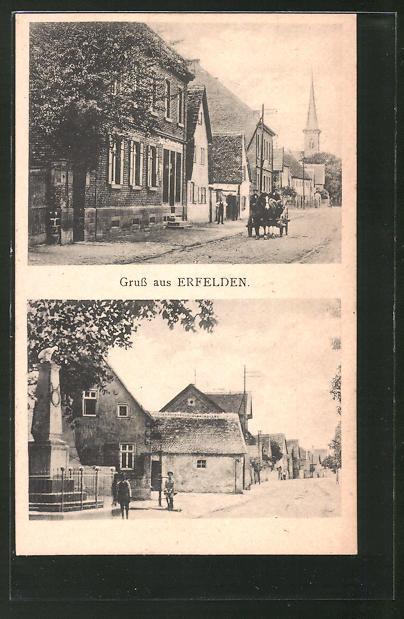 AK Erfelden, Strassenpartie mit Kirchblick, Strassenpartie am Kriegerdenkmal