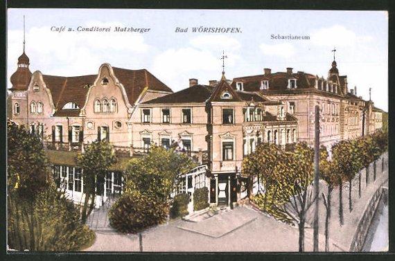 AK Bad Wörishofen, Sebastianeum und Cafe-Conditorei Matzberger