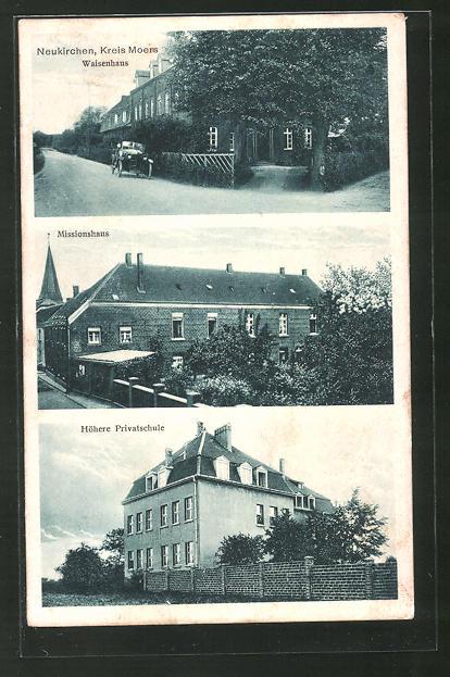 AK Neukirchen, Eingang zum Waisenhaus, Teilansicht vom Missionshaus, An der höheren Privatschule
