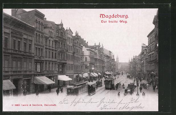AK Magdeburg, Strassenbahnen am breiten Weg