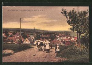 AK Schömberg, Frau mit Kindern und Kühen und Blick zum Ort