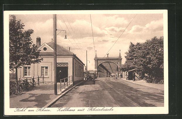 AK Kehl a. Rh., Zollhaus mit Rheinbrücke, Grenze