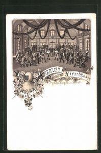 Lithographie Heidelberg, Mensur im Gasthaus zur Hirschgasse