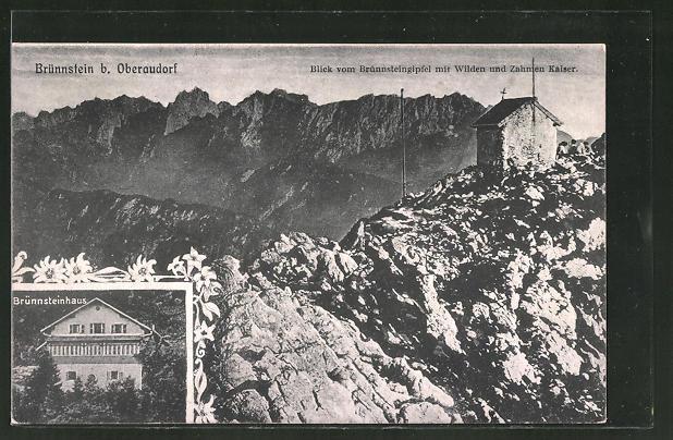 AK Oberaudorf, Blick vom Brünnsteingipfel mit Wilden und Zahmen Kaiser, Brünnsteinhaus