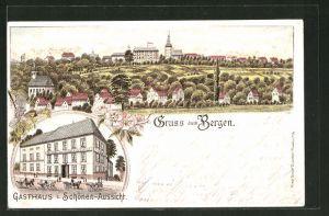 Lithographie Frankfurt-Bergen, Gasthaus zur Schönen Aussicht, Panoramablick auf den Ort