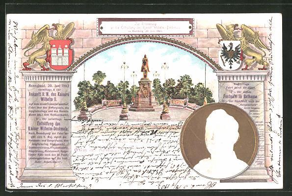 Präge-Lithographie Hamburg, Erinnerung an die Enthüllung des Kaiser Wilhelm II.- Denkmals 1903