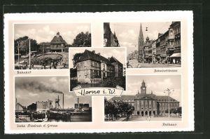 AK Herne i. W., Bahnhof, Zeche Friedrich d. Grosse, Rathaus, Bahnhofstrasse