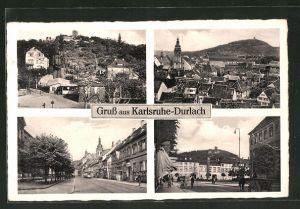 AK Karlsruhe-Durlach, vier Motive aus dem Ort