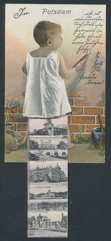 Leporello-AK Potsdam, Kleinkind mit Ansichten unterm Hemdchen, Neues Palais, Schloss Babelsberg