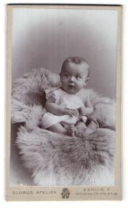 Fotografie Atelier Globus, Berlin, niedliches Baby auf Felldecke sitzend