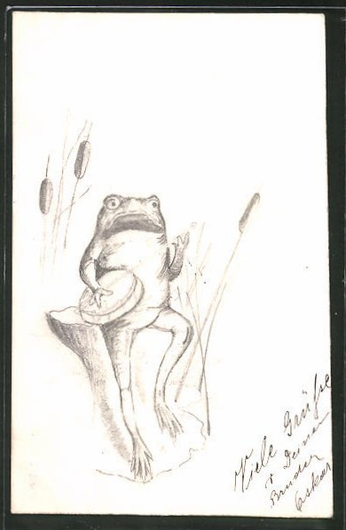 Künstler-AK Handgemalt: Frosch spielt auf einem Banjo, vermenschlichte Tiere