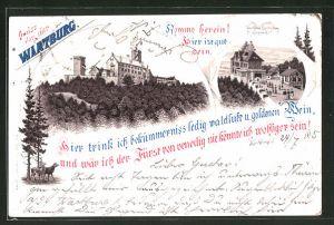 Vorläufer-Lithographie Eisenach, 1895, Ansicht der Wartburg, Wartburg-Restaurant von F. Wieprecht