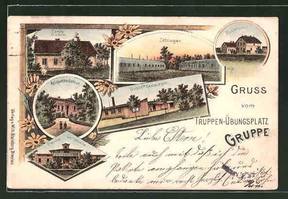 Lithographie Gruppe, Truppenübungsplatz, Busch's Restaurant, Kommandantur, Casino, Tante Busch, Baumhgart