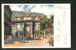 Lithographie Innsbruck, reges Treiben an der Triumphpforte