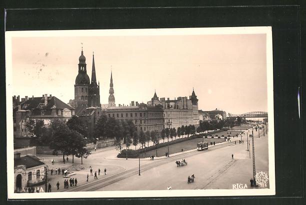 AK Riga, Teilansicht mit Blick zur Dünabrücke