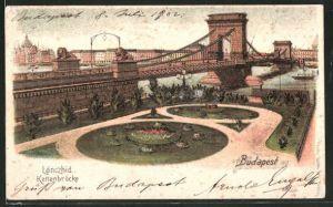 Lithographie Budapest, Partie an der Kettenbrücke