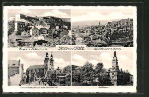 AK Glatz, Gesamtansicht mit Festung, Donjon mit Festungswerke, Minoritenkirche u. alte Steinbrücke, Rathaus